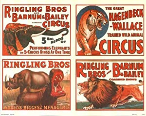 Vintage Ringling Bros. and Barnum & Bailey Circus Ad Poster - 13x19 custom fit with RichAndFramous Black 19 inch Poster Hangers