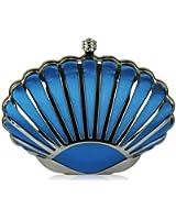 Womens Teal Blue Shell Clutch Evening Bag - KCMODE