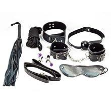 SMグッズ★SM7点セット口枷手枷首輪アイマスク高級ロープバラ鞭 ボディークリップ