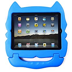 HDE Kids Light Weight Shock Proof Handle Case for iPad 2/3/4 (Blue Cat)
