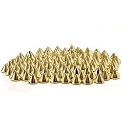 Come 2 Buy - Approx 100PCS 10MM GOLD/GOLDEN Acrylic Bullet Spike Cone Studs, Beads, Sew on, Glue on, Stick on, DIY Garments, Bags & Shoes Embellishment from MAKS
