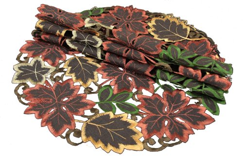 Xia Home Fashions Dainty Leaf Embroidered Cutwork Round Harvest Placemats, 16-Inch, Set Of 4 front-517628