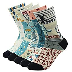 J'colour Little Boys' Funny Elite Cute Printed Novelty Casual Crew Socks 5-Pack