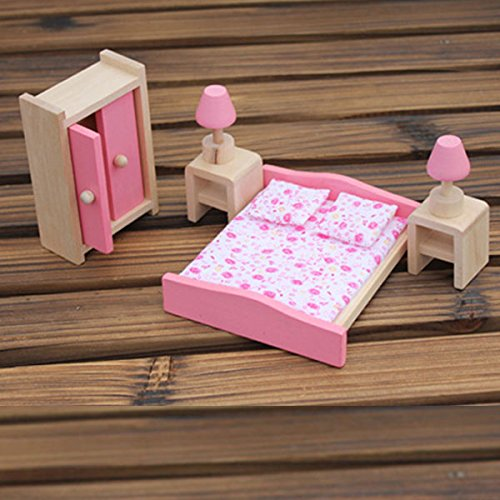 Generic A Set Of Dollhouse Furniture Wooden Bedroom Toy For Decorating Or Kids Playing front-413604