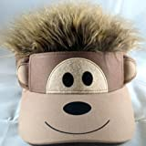 Child Monkey Hat Visor with Hair