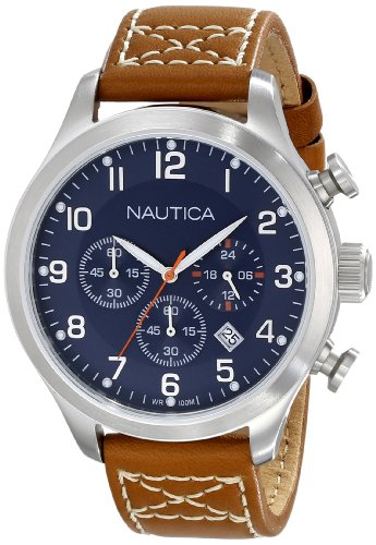 """Nautica Men'S N14699G Bfd 101 """"Classic"""" Stainless Steel Watch With Brown Leather Band front-1021101"""