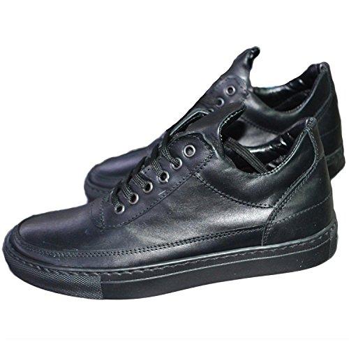 Sneakers bassa pelle liscia nere uomo man moda fill stringata linguetta alta (44)