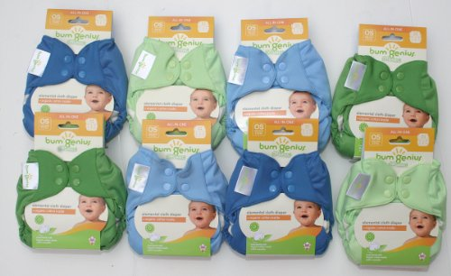 Bumgenius Elemental Organic Boys 6 Pack of Cloth Diapers All in One for Boys