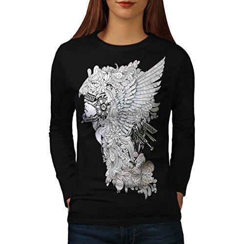 Medievale Donna Vestito pazzo Da donna Nuovo Nero XL T-Shirt Manica Lunga | Wellcoda