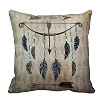 Personalized 18X18 Inch Square Cotton Pillowcases Bow, Arrow, And Feathers Pillow Covers by Lovest