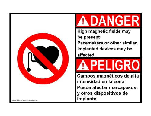 Compliancesigns Vinyl Ansi Danger Label, 5 X 3.5 In. With Mri / X-Ray / Microwave Info In English + Spanish, 4-Pack White