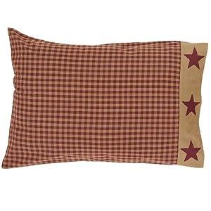 Ninepatch Star Pillow Case w/Applique Border Set of 2-21x30