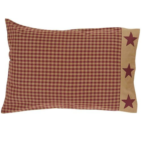 Ninepatch Star Pillow Case w/Applique Border Set of 2-21x30