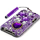 The Friendly Swede Purple Heart Diamond Bling Snap On Hard Case for Apple iPod Touch 4 4th Gen - Branded Stylus Pen - Clear Screen Protector - Retail Packaging