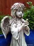 GARDEN ANGEL ORMAMENT: Large Stone Effect Angel Holding Bird Figure Statute