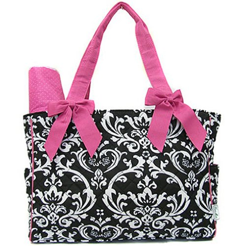 Damask Print Quilted Diaper Bag Tote Purse 2 Piece Set w/ Changing Pad