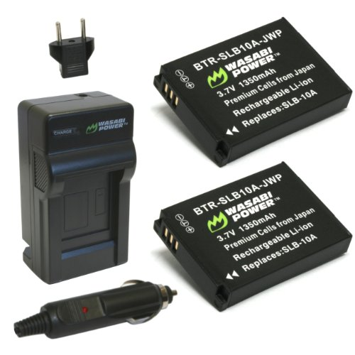 Wasabi Power Battery (2-Pack) and Charger for Samsung SLB-10A and Samsung ES50, ES55, ES60, EX2F, HMX-U10, HMX-U20, HZ10W, HZ15W, IT100, L100, L110, L200, L210, L310W, M100, M110, M310W, NV9, P800, P1000, PL50, PL51, PL55, PL60, PL65, PL70, SL102, SL202, SL310, SL420, SL502, SL620, SL720, SL820, TL9, WB150F, WB250F, WB350F, WB500, WB550, WB750, WB800F, WB850F, WB1100F, WB2100