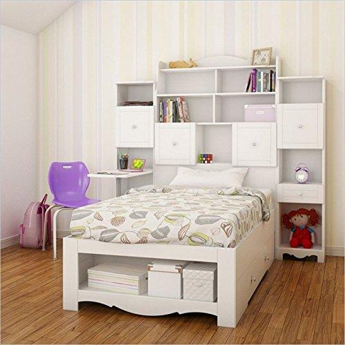 Nexera Pixel 4 Piece Twin Bedroom Set in White with Bookcase Desk