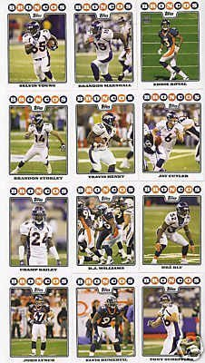 Denver Broncos Football Cards - 5 Years Of Topps Complete Team Sets 2005,2006,2007, 2008 & 2009 - Includes Stars, Rookies & More - Individually Packaged!