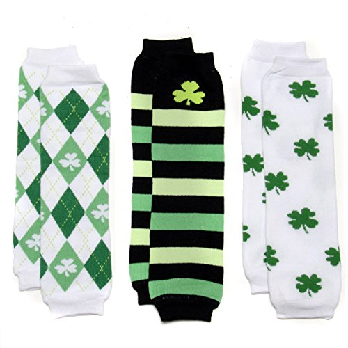 St. Patrick'S Baby Leg Warmers Set Of 3 - Argyle, Striped, Clover front-315451