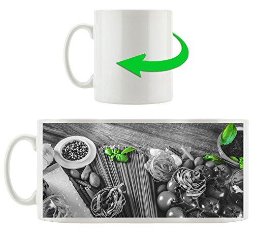 Pâtes aux épices fraîches noir / blanc, motif tasse en blanc 300ml céramique, grande idée de cadeau pour toute occasion. Votre nouvelle tasse préférée pour le café, le thé et des boissons chaudes.