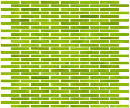 Susan Jablon Mosaics - 1/4 Inch Lime Green Stained Glass Subway Tile
