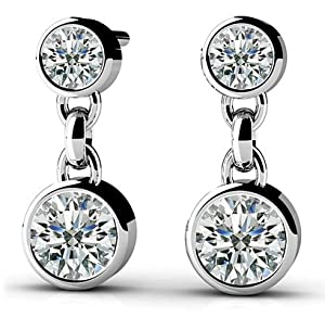 14k White-Gold, Diamond Dangle Earrings, 0.25 ct. (Color: HI, Clarity: SI2)