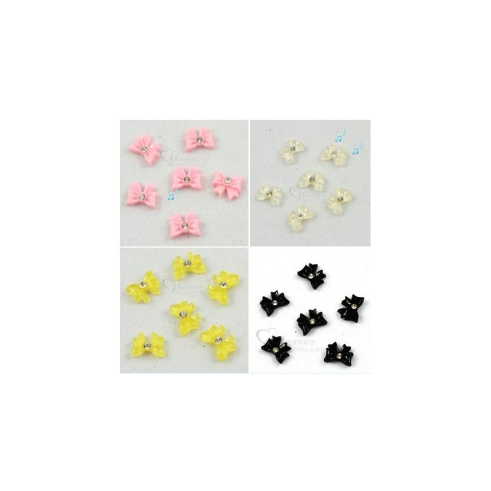 24pcs 4 Style Bow Tie Bling Bling Rhinestone Nail Art Stickers Beauty