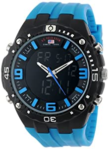 U.S. Polo Assn. Sport Men's US9175 Blue Silicone Analog Digital Watch