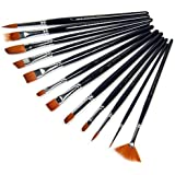 HeroNeo® 12pcs Nylon Hair Paint Brush Set Artist Watercolor Acrylic Oil Painting Supplies