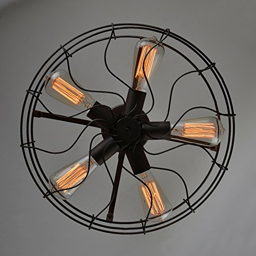 Electro_BP; Vintage Style Metal Art Ceiling Light Max 300W With 5 Lights Painted Finish 2