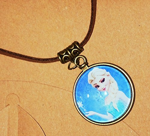 CJB Frozen Pendant Vintage Leather Necklace Elsa (US Seller)