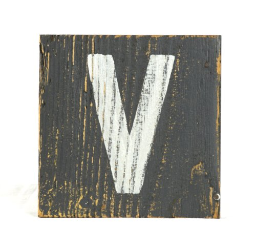 ZENTIQUE Wooden Letter, Small, Monogrammed V