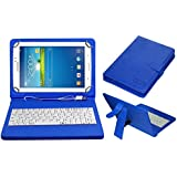 Acm Usb Keyboard Case For Samsung Galaxy Tab 3 Sm T211 Tablet Cover Stand With Free Micro Usb Otg - Blue