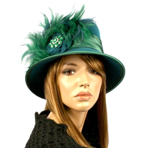 Millinery 100% Wool Derby Winter Cloche Feathers Jewels Bucket Church Hat Teal