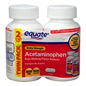 Amazon.com: Equate Extra Strength Acetaminophen LARGE Twin-Pack 500mg, 500 tabs Compare to Tylenol: Health & Personal Care