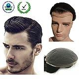 Human Hair Toupee for Men, N.L.W. European Human Hair Pieces for Men with 10