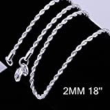 Goldenchen Fashion 925 Jewelry Classic 2mm Distort Rope Beautiful Sterling Silver Plated Necklace Chain For Women Men (18 Inch) (Color: Silver, Tamaño: 18 Inch)