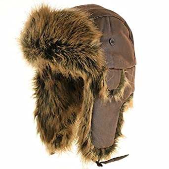 Ushanka Trooper Pilot Faux Rabbit Fur Leather Fall and Winter Trapper Hat BROWN 7 3/8
