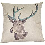 "Decorbox Retro Cotton Linen Square Vintage Throw Pillow Case Shell Decorative Cushion Cover Pillowcase Deer 18 ""X18 """