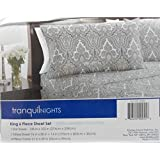 Divatex Tranquil Nights Luxury Weight Bedding King 6 Piece Sheet Set (King, Grey/White Pattern)
