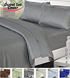 Utopia Bedding Striped Duvet Cover Set - Super Soft Woven Stripes HIGH QUALITY 100% Brushed Microfiber Premium Bedding Collections - Wrinkle, Fade, Stain Resistant - Hypoallergenic -3 Piece Set - Duvet Cover and 2 Pillowcases - Best For Bedroom, Guest Room, Childrens Room, RV, Vacation Home (Queen, Grey)