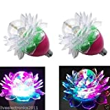(Pack of 2)Lotus Rotating Multicolor LED Bulb Light + (FREE 1 HAND Shape LED Light KEY-CHAIN) for Festivals Diwali , Christmas, Home, Party Decoration Lights