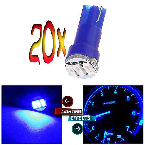 CCIYU 20x Blue Car T5 3-3014 SMD Wedge LED Light Bulbs 74 17 18 37 70 73 2721 Fit 1997 1999 2000 2001 Isuzu Trooper Rodeo Hombre 1993 2000 Cadillac 60 Special Escalade (Speedometer Led Lights Blue compare prices)