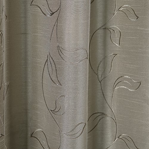 Puredown embroidered faux silk window curtains drape panels treatment