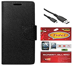 Tidel Premium Table Talk Fancy Diary Wallet Flip Cover Case for Samsung Galaxy J5 (Black) With Tidel Screen Guard & Data Cable