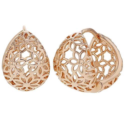 Rose Gold Tone Flower Hoop Huggie Filigree Basket Earrings Women Lady (Filigree Basket compare prices)