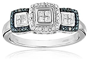 10k White Gold Blue and White Diamond (1/5cttw, I-J Color, I2-I3 Clarity) Promise Ring, Size 6