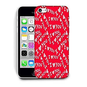 Snoogg I Love You Red Pattern Printed Protective Phone Back Case Cover For Apple Iphone 5C