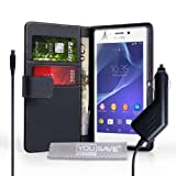 Yousave Accessories PU Leather Wallet Cover with Car Charger for Sony Xperia M2 - Black